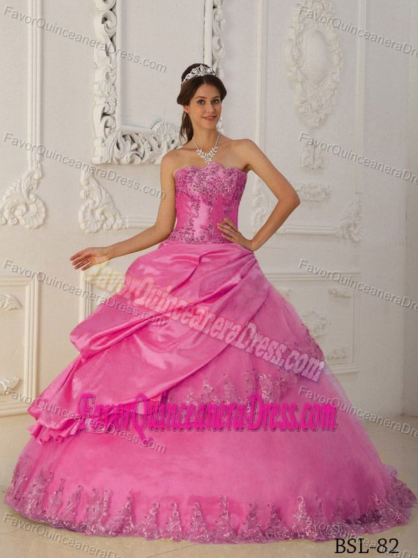 d5c66bd579 Hot Pink A-Line Sweetheart Beaded Quinceanera Gowns in Taffeta and Tulle