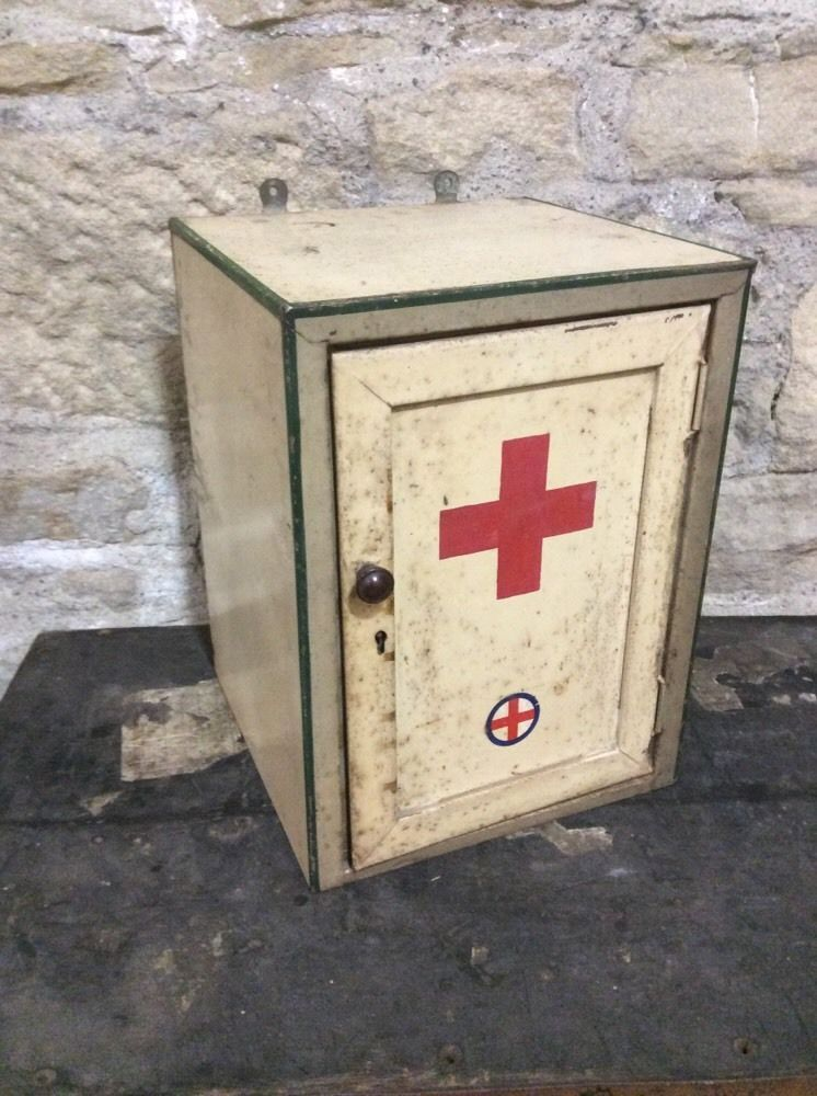 Vintage Metal First Aid Medical Wall Mounted Cabinet Industrial ...