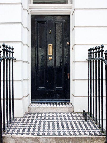 Vintage Luxe Black House Exterior Outdoor Entryway Porch Tile