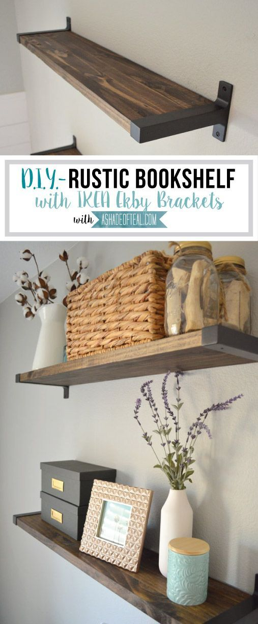 Rustic DIY Bookshelf with IKEA Ekby Brackets (A Shade Of Teal) #floatingshelves