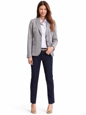 fcd87d7d95d You can still wear a blazer and be business casual! Maybe mix up the colors  on top and bottom rather than having a one-colored suit - similar to this!