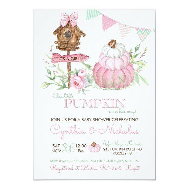 Pink Pumpkin Patch Birdhouse Girl Baby Shower Invitation | Zazzle.com