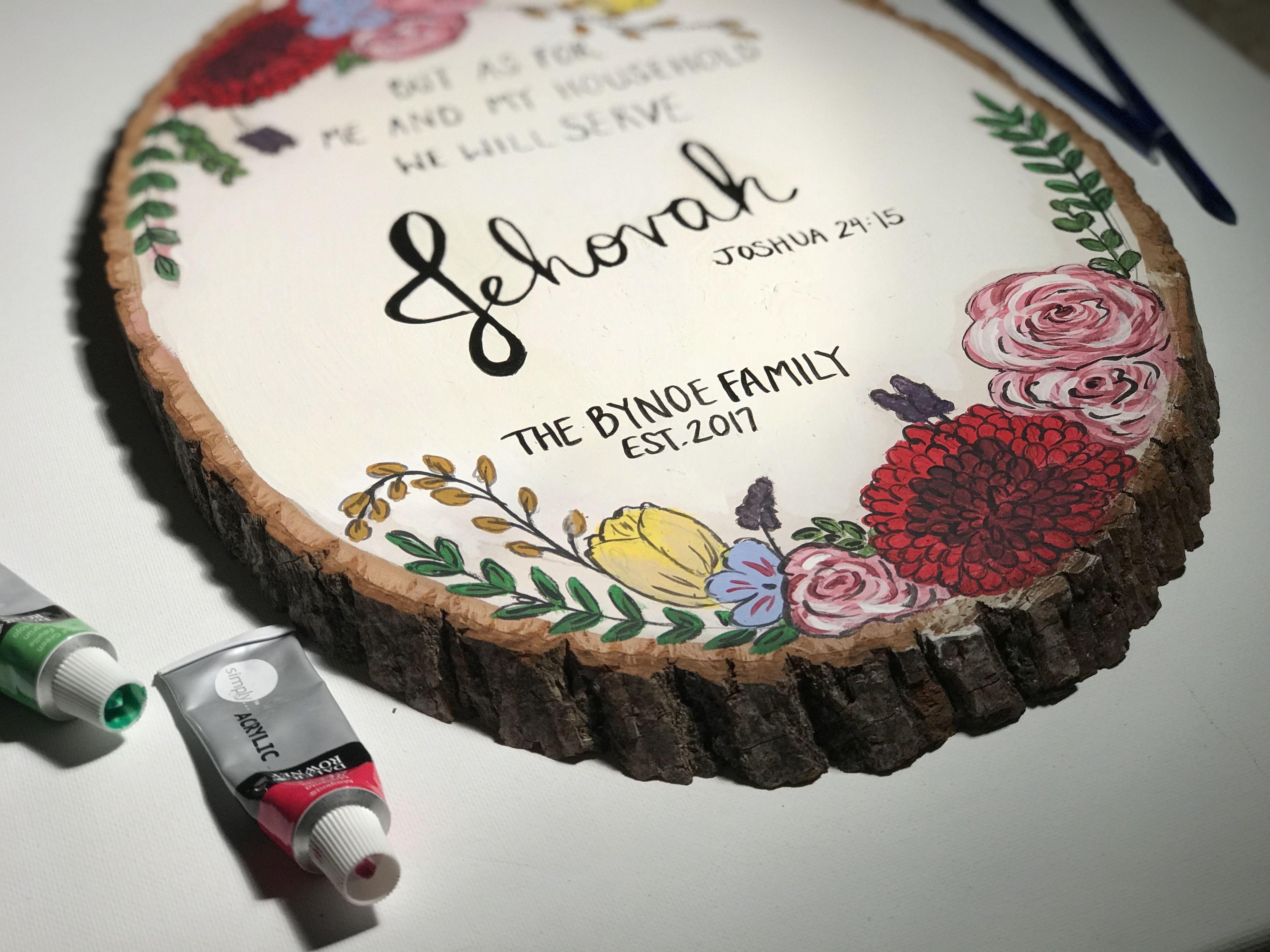 Hand painted wood slice - https://www.instagram.com/customcreationsbynat/