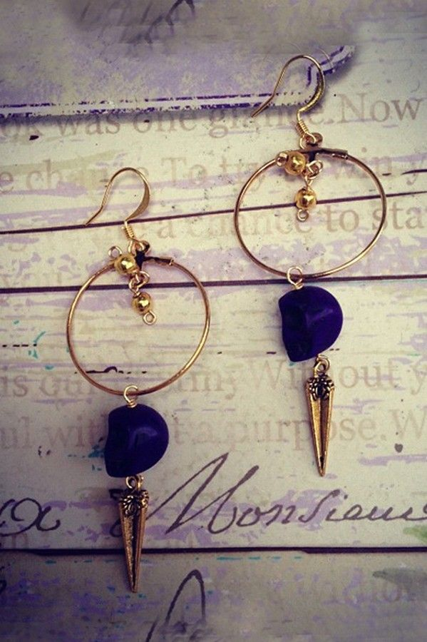 Lolindo 'Purple Earrings' Gold Earrings by Lolindo 2013 | The Orchid Boutique