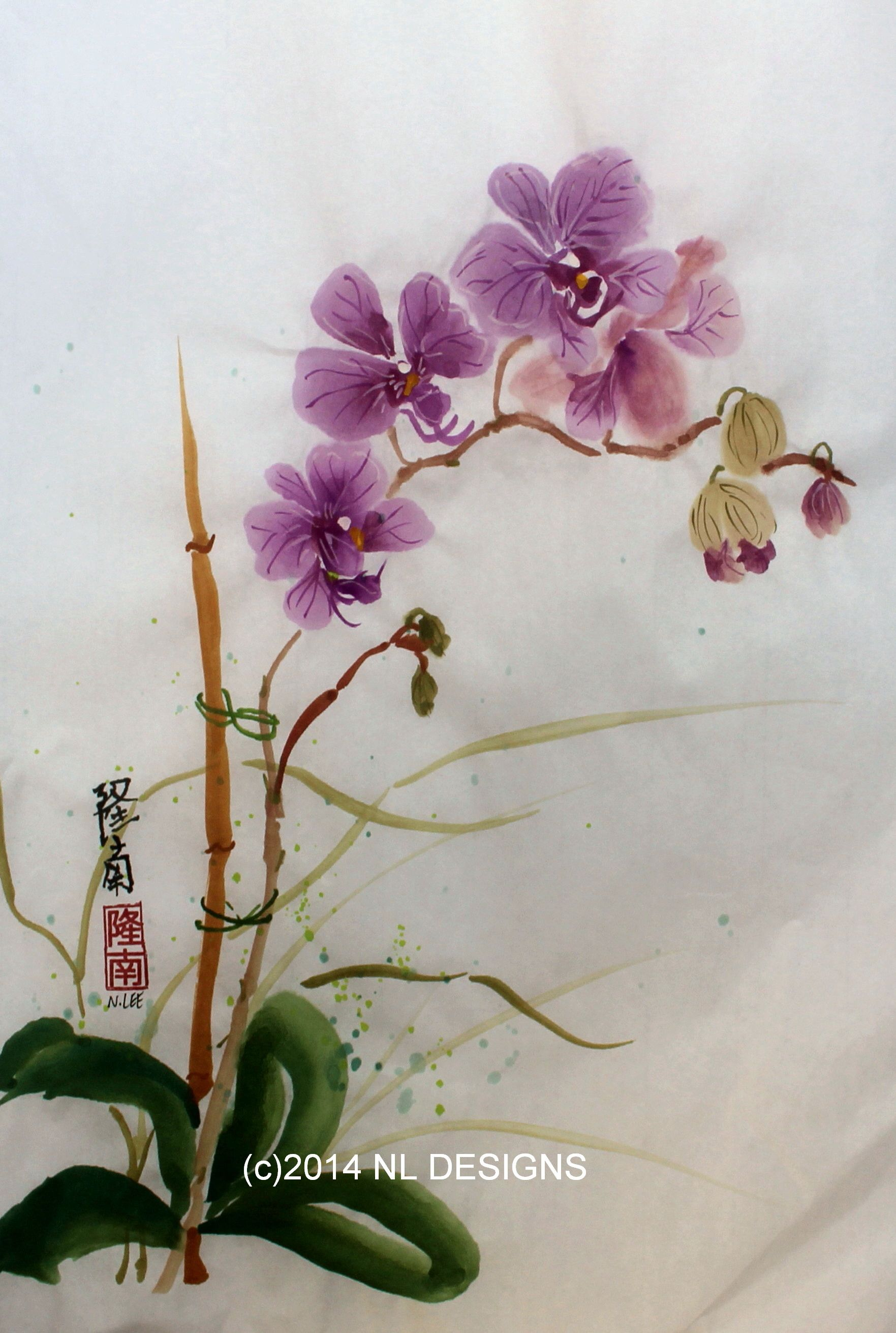 Orchid Flowers On A Bamboo Stake Painting Nldesignsbythesea Orchids Painting Flower Painting Watercolor Flowers Paintings