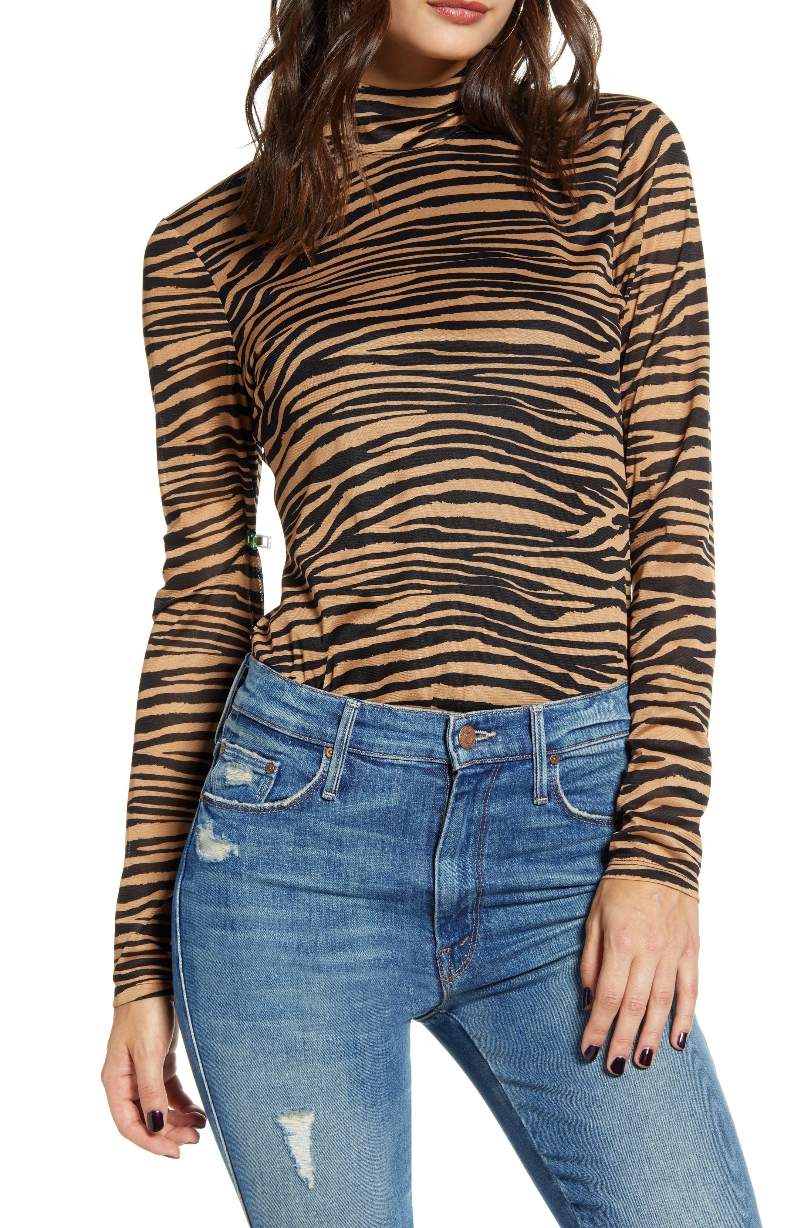 WAYF Jett Tiger Stripe Mock Neck Knit Top | Fashion, Stylish