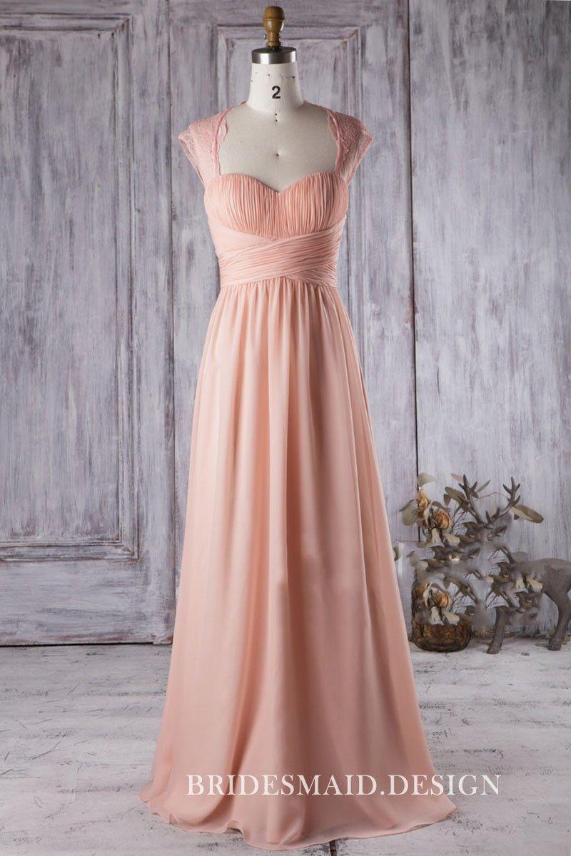 Timeless Queen Anne Neck Peach Chiffon and Lace Cap Sleeve Bridesmaid Dress 457b4c2cf3b9e