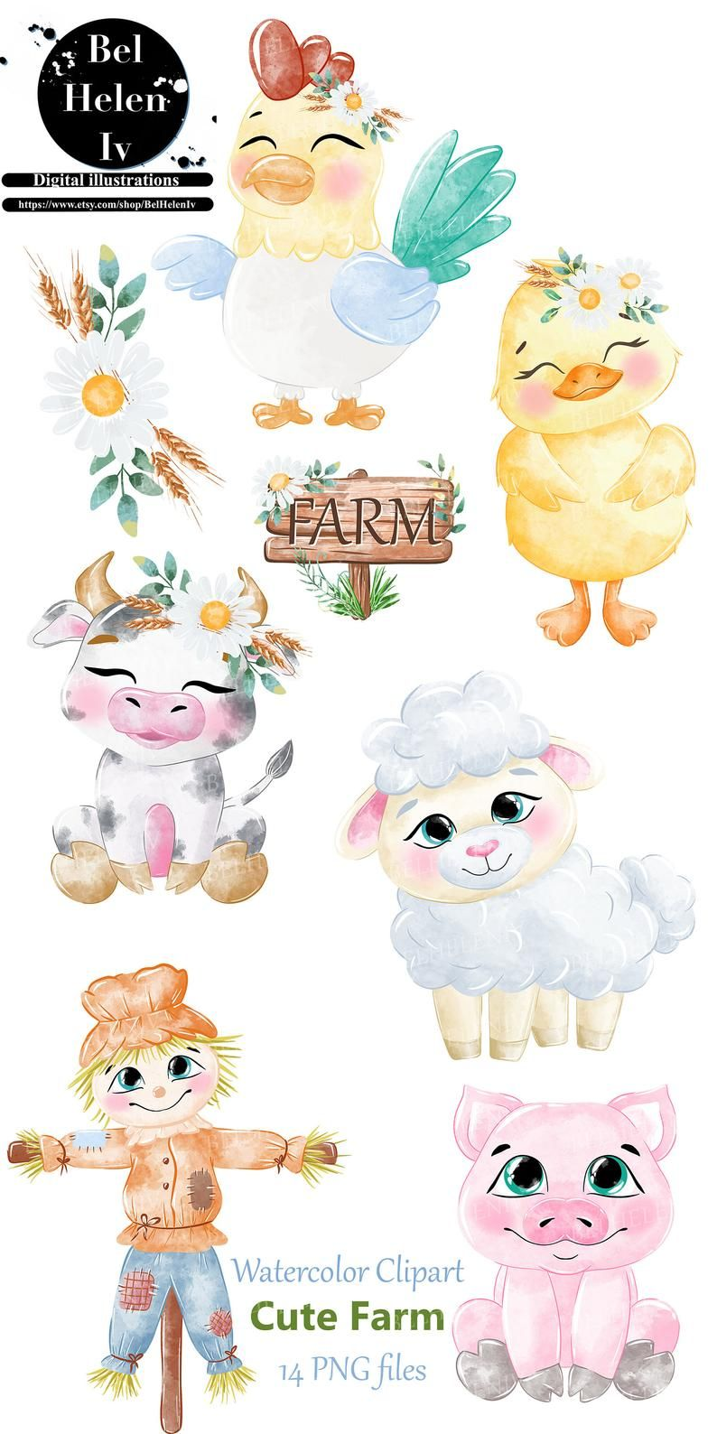 Cute Farm Clipart Farm Animals Watercolor Digital Clipart Etsy Watercolor Animals Animal Clipart Free Cute Animal Clipart