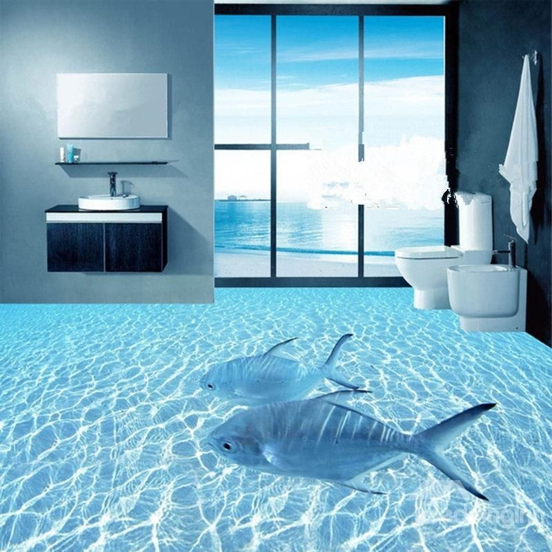 Floor Decor Ideas Lake Tile And More Store Orlando: Two Leisurely Fishes In The Limpid Sea Pattern Waterproof