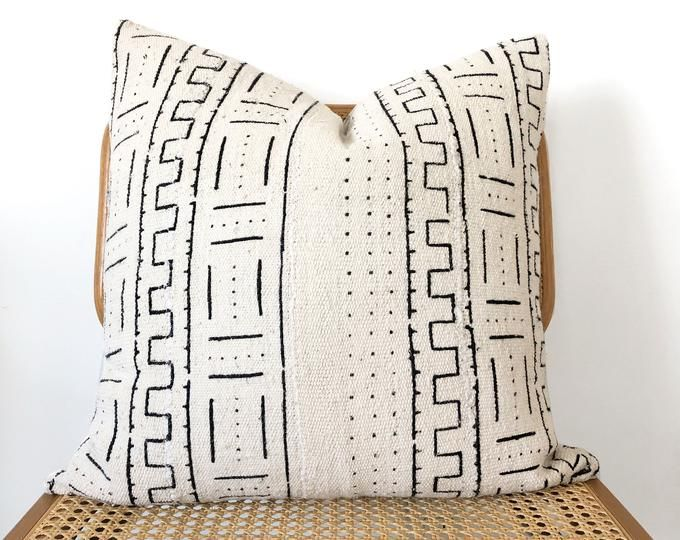 "Throw Pillow 18"" x 18"", Beige Pillow, Mud cloth Pillow, African Mudcloth, Boho Pillow, Boho Decor, L"