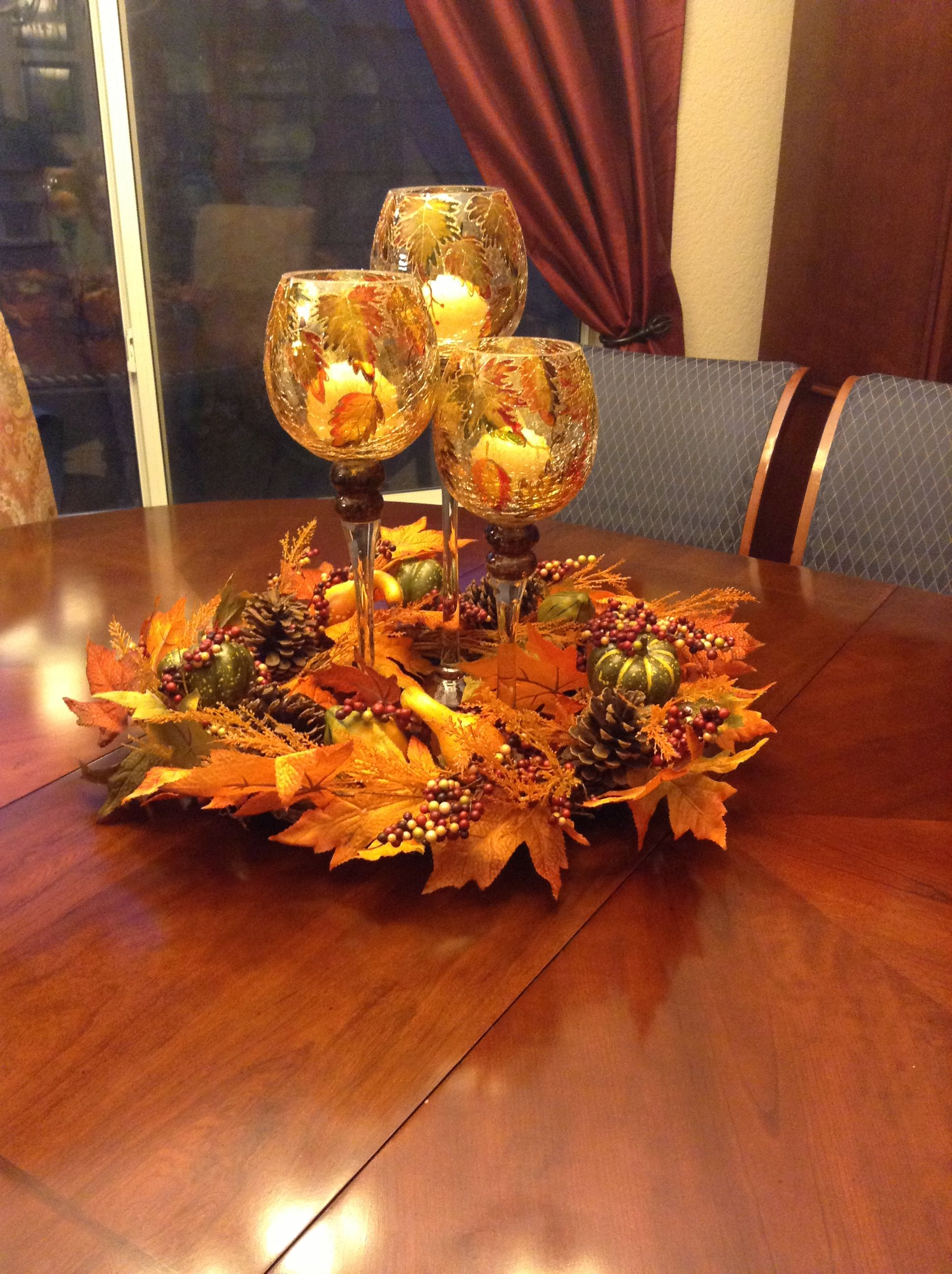 My fall centerpiece on dining room table
