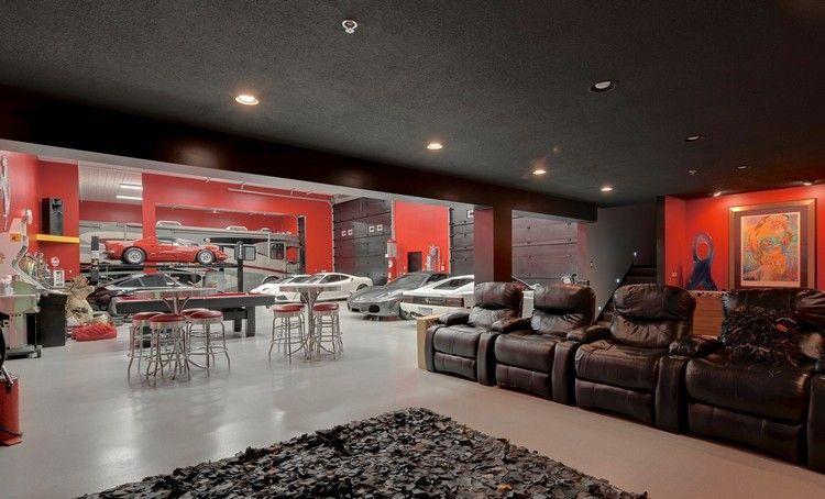 Am nagement garage en salon cosy avec fauteuils en cuir - Salon de luxe en cuir ...