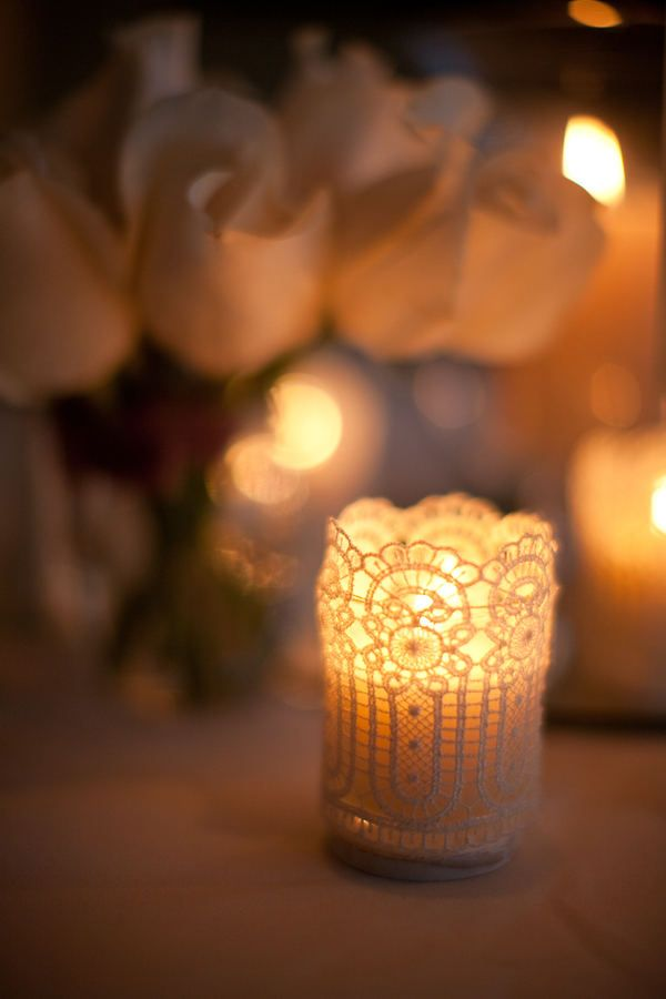 Lace covered candles!