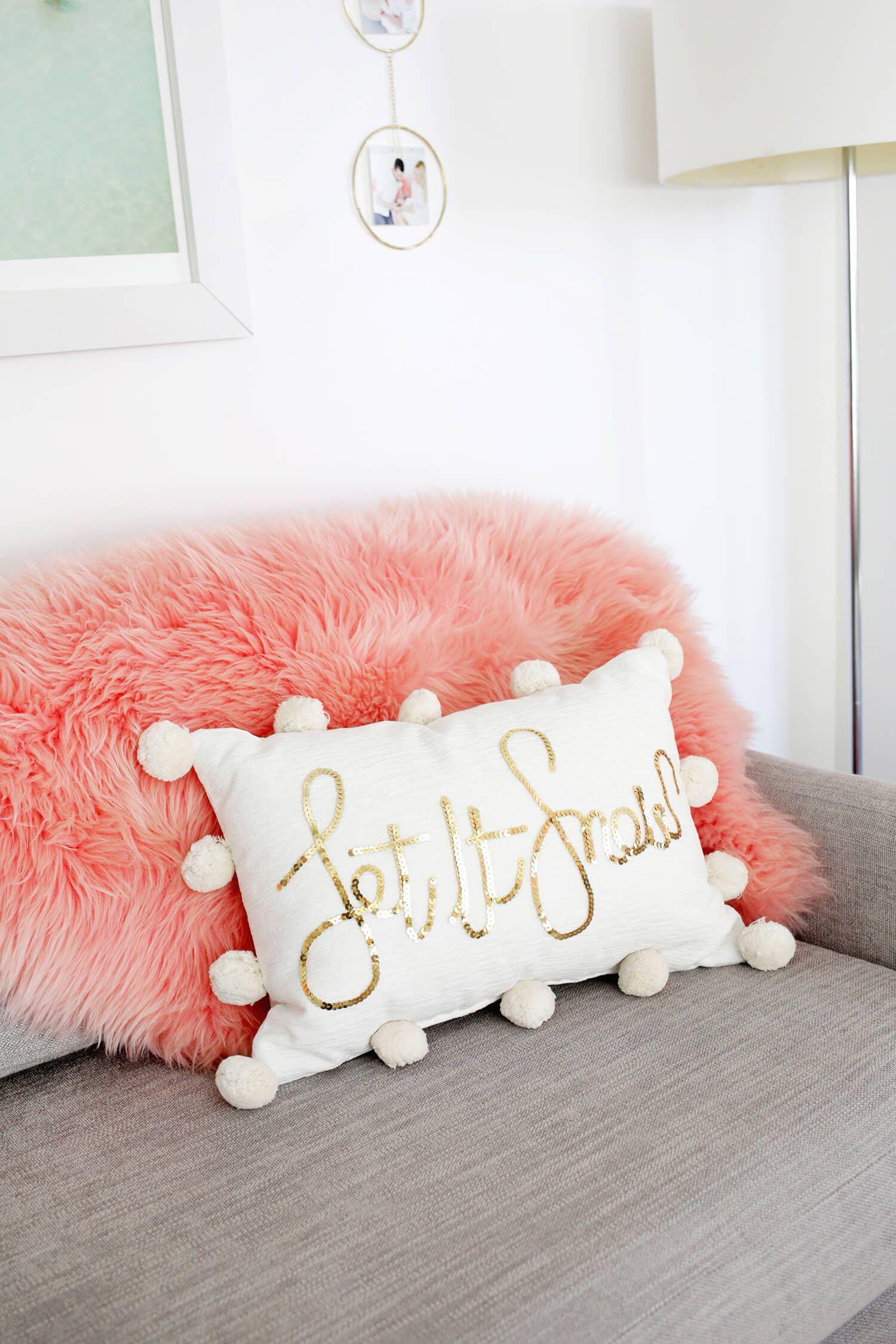 Sequin Phrase Pillow DIY! – A Beautiful Mess
