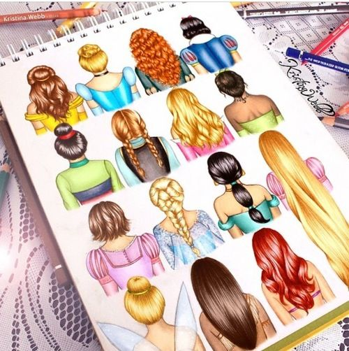 Disney hair drawn by the amazing Kristina Webb - Zeichnung