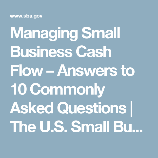 Managing Small Business Cash Flow  U2013 Answers To 10 Commonly