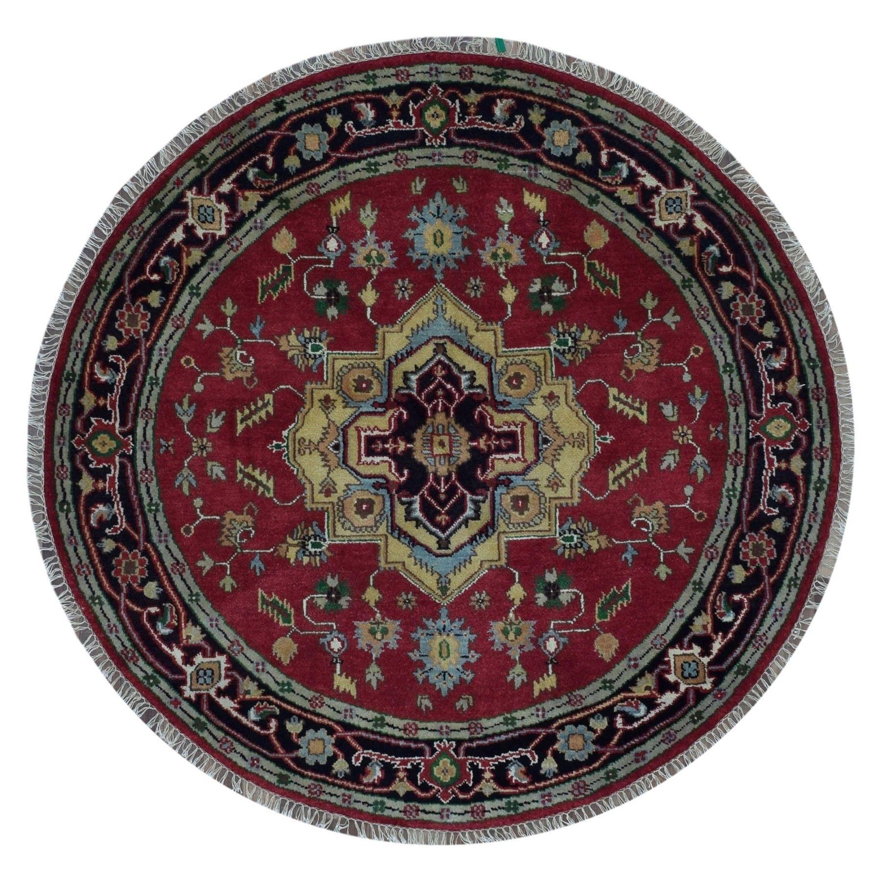 Finerugcollection Handmade Fine Serapi Redgreen Oriental Round Rug
