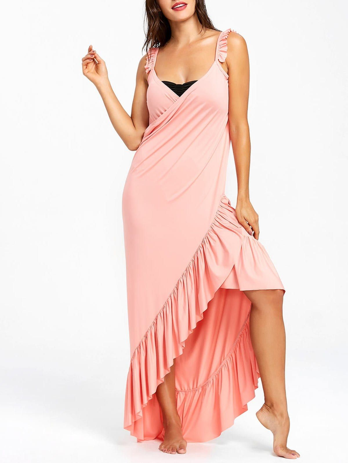 f6bbad1021 Wrap Flounce Beach Cover Up Dress - LIGHT PINK L | Dresslilly in ...