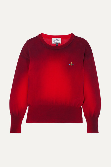 Red Spray Paint Embroidered Cotton Sweater Vivienne Westwood Cotton Sweater Sweaters Vivienne Westwood