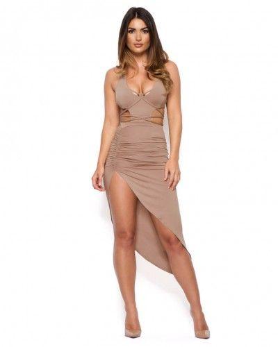 Ruched asymmetric maxi dress