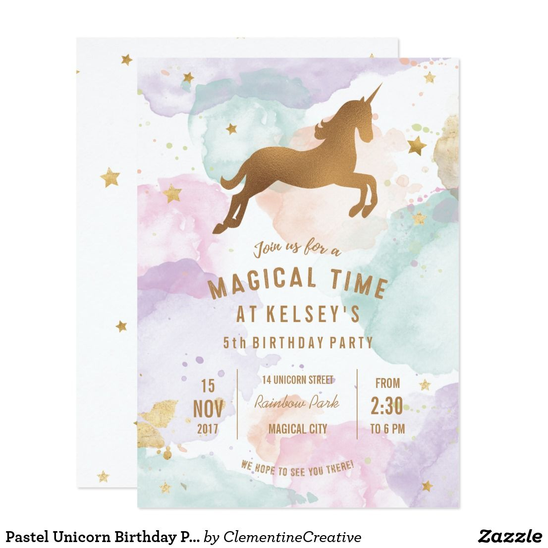 Pastel Unicorn Birthday Party Invitation | Invites: Birthday Parties ...