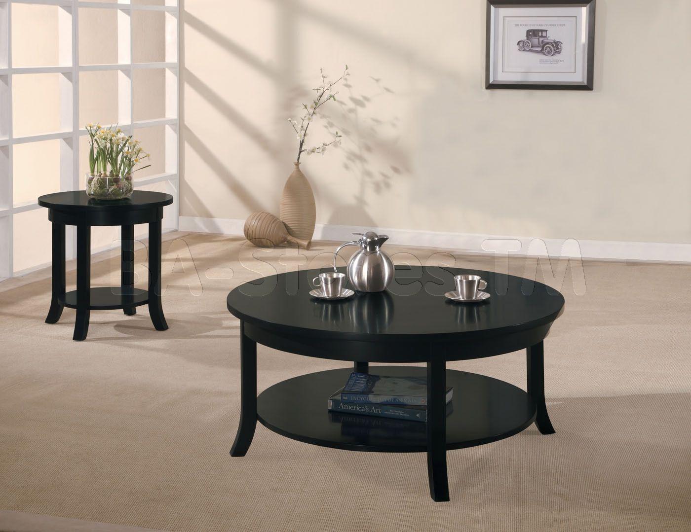 Black Round Coffee Table Set