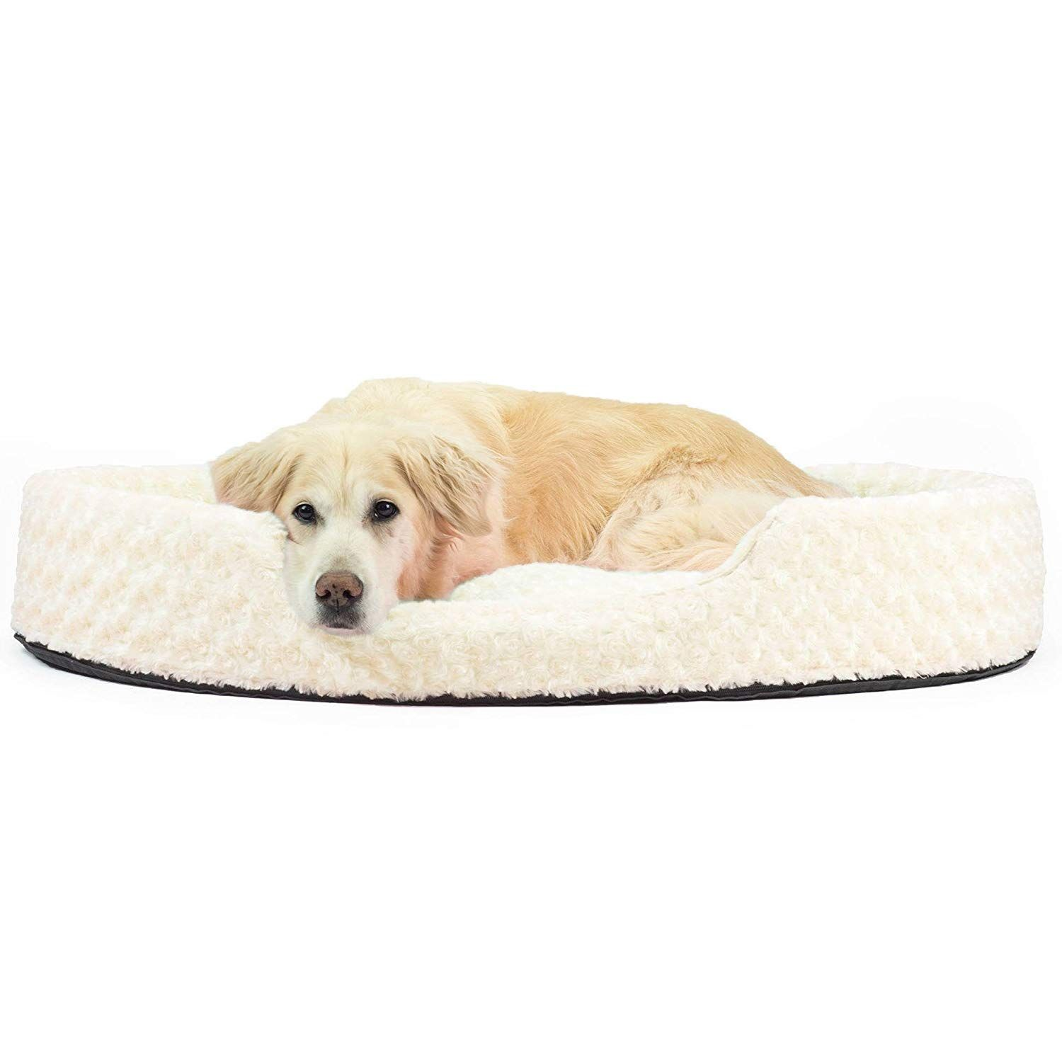 1 Piece Cream Tufted Jumbo 42 Inches Ultra Plush Oval Comfort Pet Bed Off White Color Traditional Style Ne Dog Bed Furniture Nest Dog Bed Comfortable Dog Beds