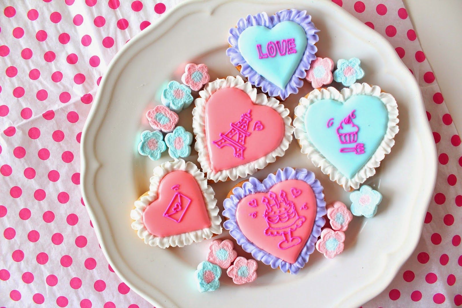 Sweeten your day.: Frill heart icing cookies フリルハートのアイシングクッキー