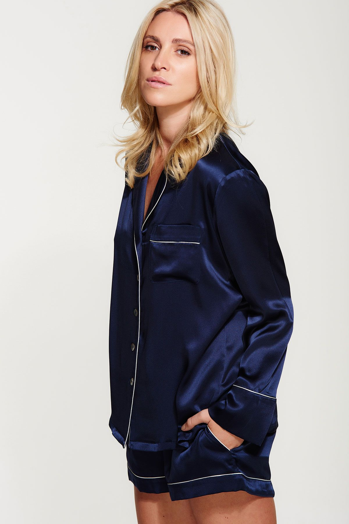 6931130452 Navy Blue Women s Silk Pajama Set