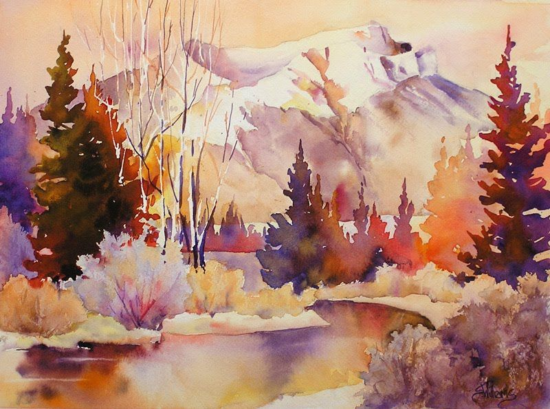 Tecumseh Fall Watercolour Landscape Painting By Sharon Lynn