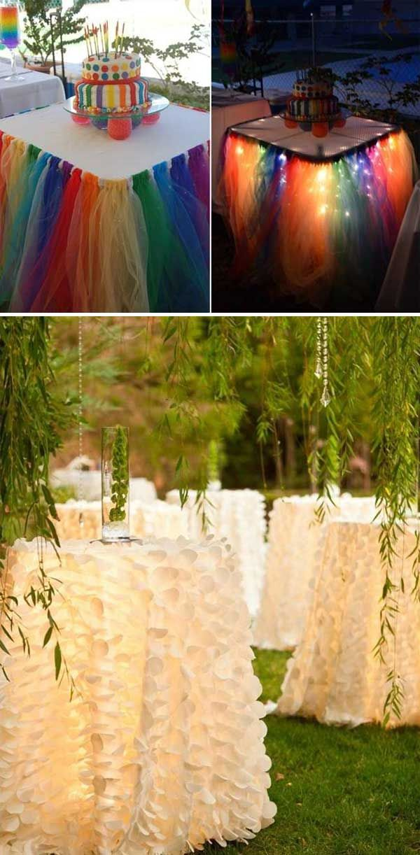 Rainbow tulle skirts or white ruffled skirts
