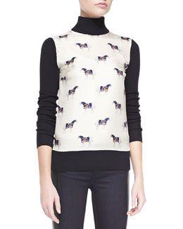 Tory Burch Etty Horse-Print Silk & Wool Sweater
