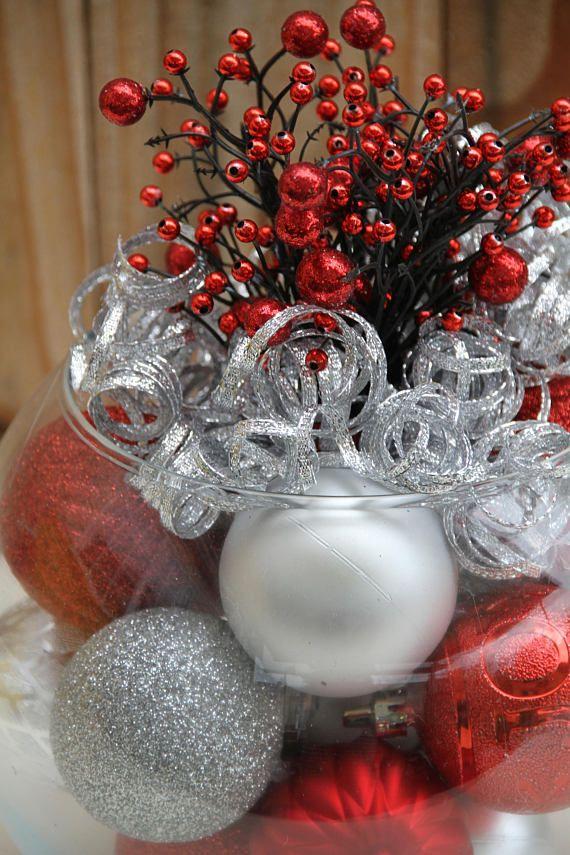 Fiesta de navidad corporativa de centro de mesa rojo y - Decoracion mesa de navidad ...