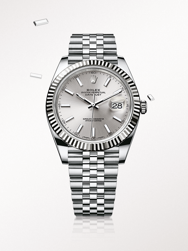 The Rolex Datejust 41 in steel and white gold, with a silver dial and Jubilee bracelet.