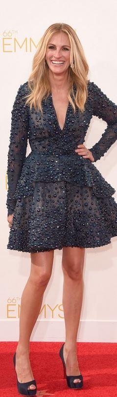 Julia Roberts: Dress – Elie Saab  Shoes – Christian Louboutin  Earrings – Wilfredo Rosado  Rings – Irene Neuwirth