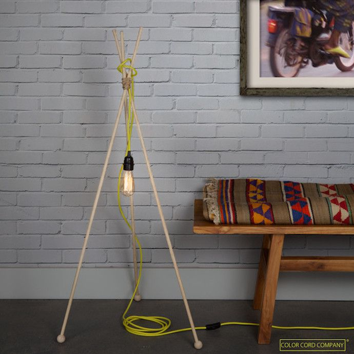 DIY de redondos alta lampara con palos trípode madera PZXOikTu