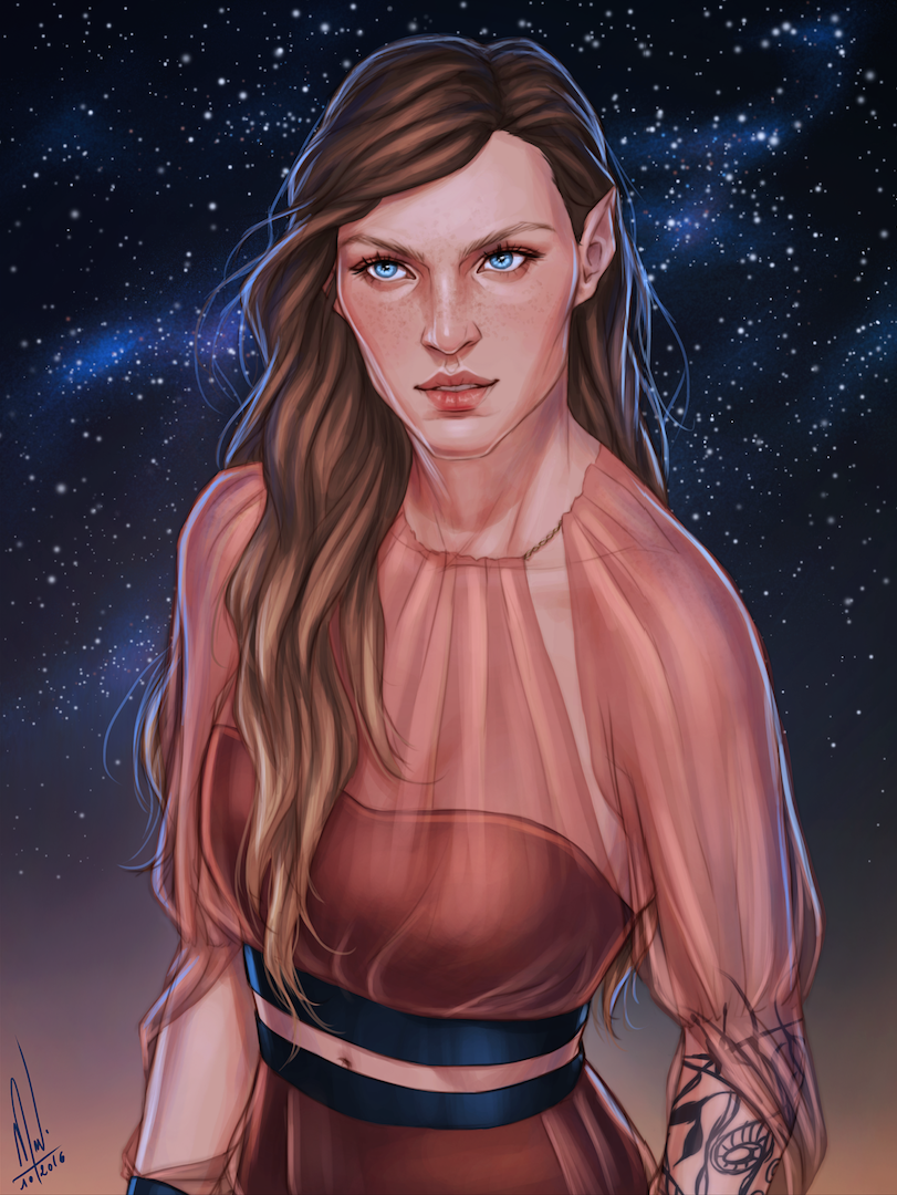 """""You look absolutely delicious today, Feyre."" "" Feyre Cursebreaker Now her face feels right to me and I had so much fun with her clothes (pretty much how I picture her very first Night Court outfit)."