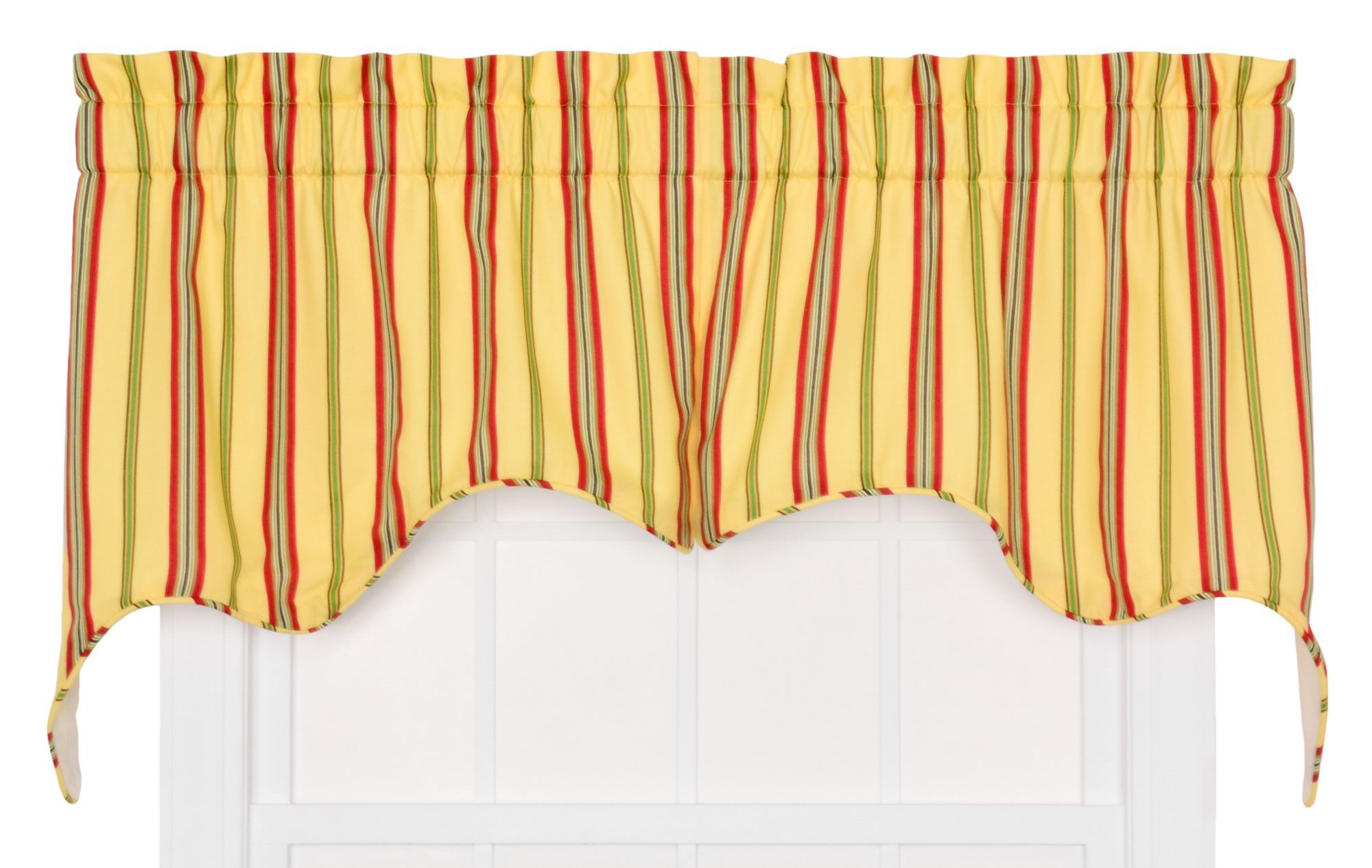 Beeching medium scale stripe empress piece lined swag curtain