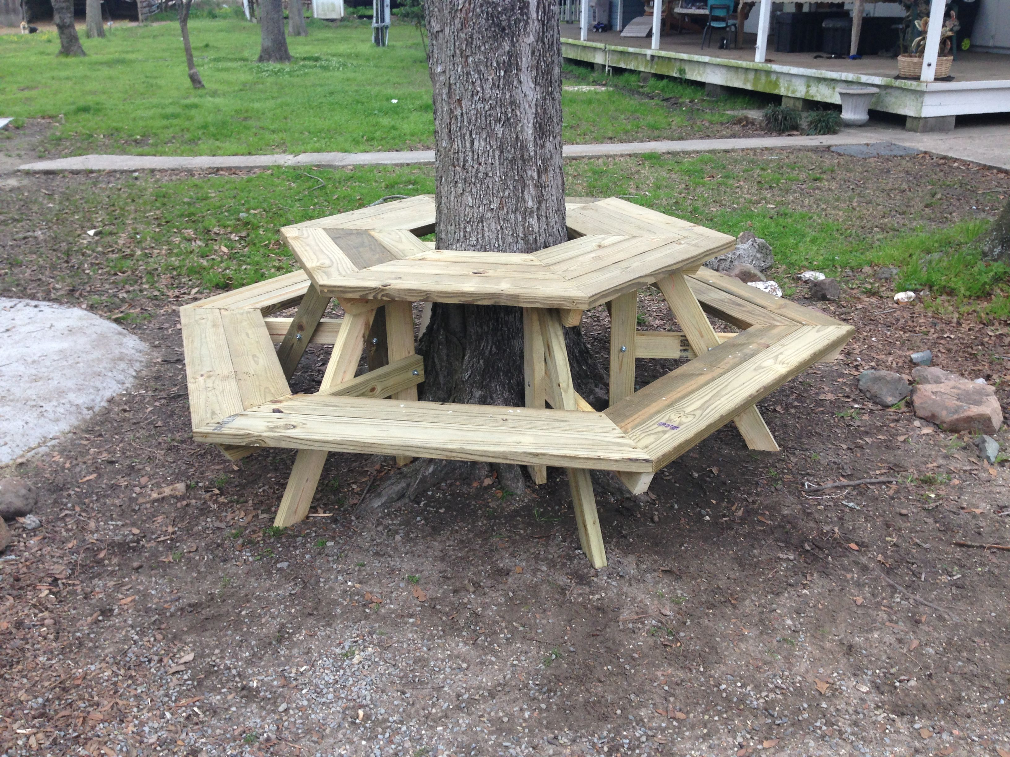 The picnic table around a tree i built today diy for Diy tree table