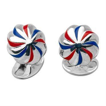 Deakin & Francis Enamel Sterling Silver Pumpkin Swirl Cufflinks