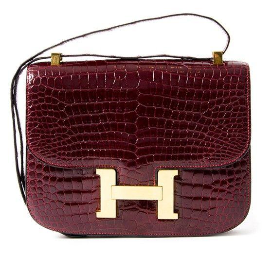 Hermes Crocodile Porosus Constance Rouge H Vintage Hermes Bag Hermes Handbags Leather Handbags Crossbody