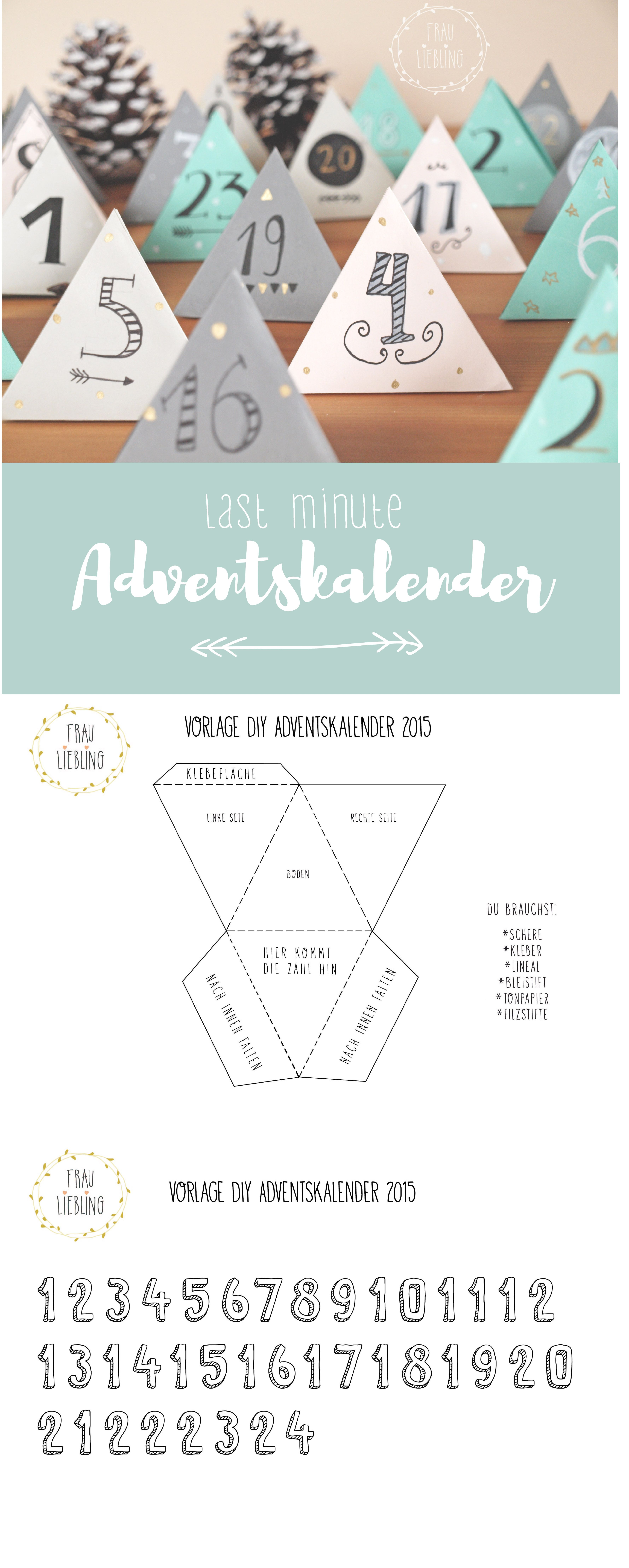 DIY Last Minute Adventskalender mit Vorlage | Adventskalender ...