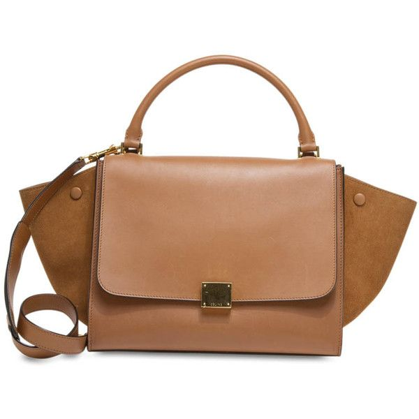 Pre-owned Celine Satchel (€1.900) ❤ liked on Polyvore featuring bags, handbags, apparel & accessories, satchels, tan, wallets & cases, satchel purse, leather satchel, tan leather purse and beige leather purse