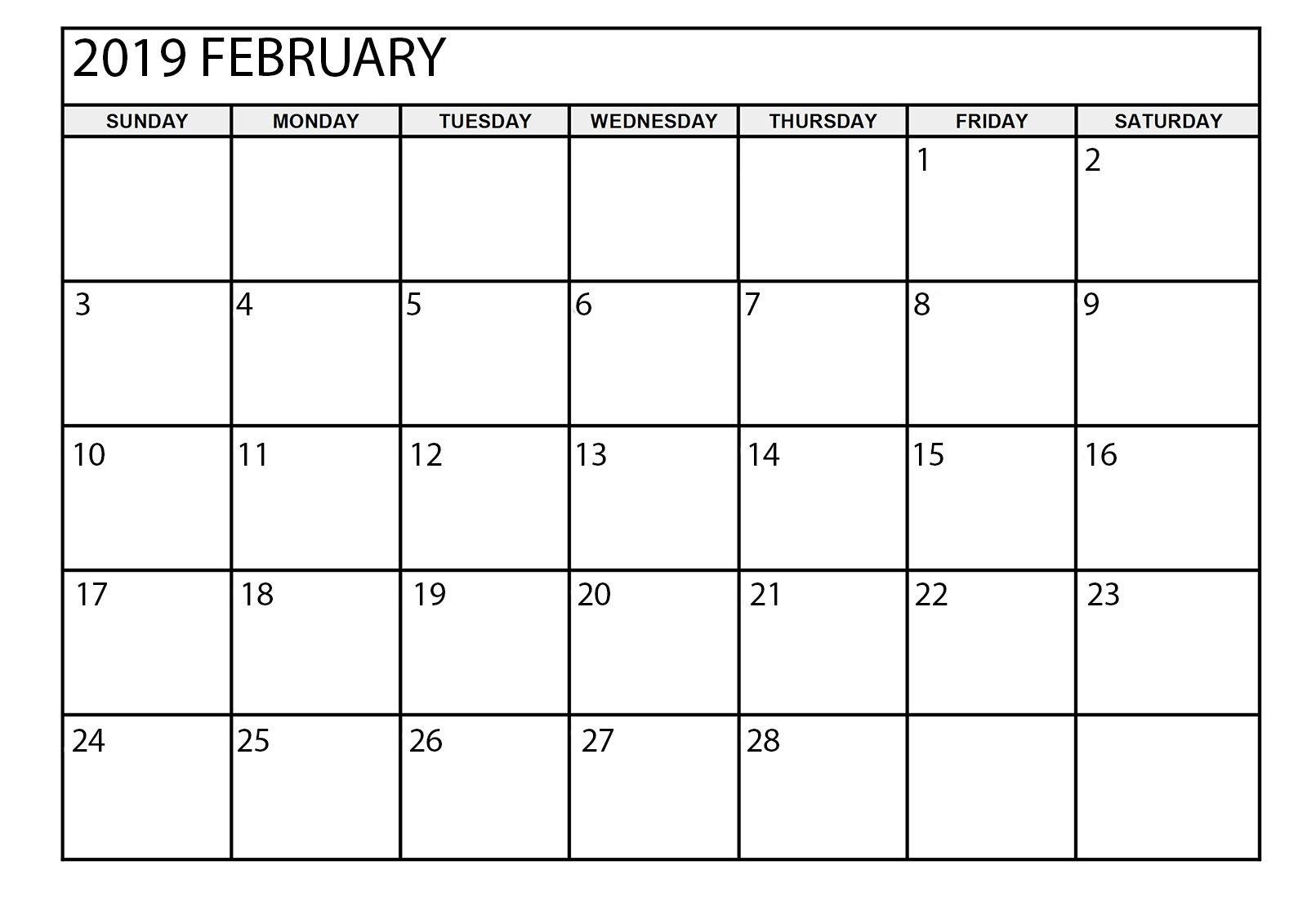 February 2019 Large Calendar February 2019 Calendar Printable Large | February 2019 Calendar