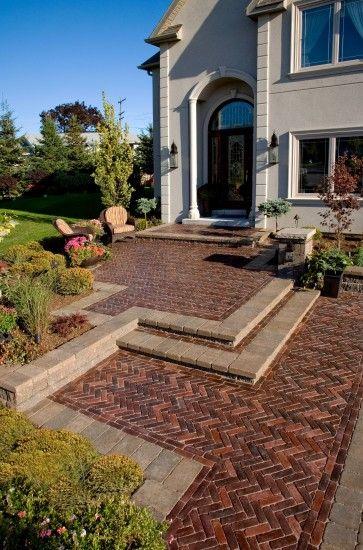 unilock copthorne paver entrance landscaping pinterest