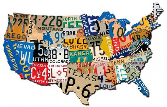 License Plate Map USA, 35 x 21 inch plasma cut metal art sign, U.S. ...