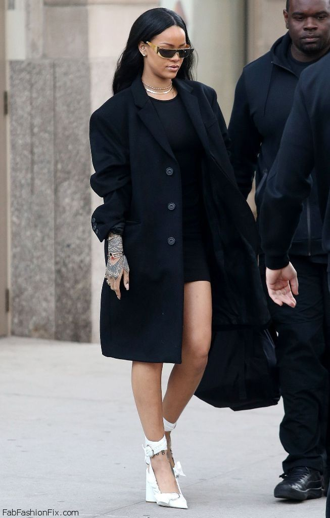 Rihanna Street Style With Black Coat And Dior Pumps While Out And About In New York March 2016