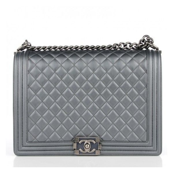 CHANEL Metallic Calfskin Quilted Large Boy Flap Dark Silver ❤ liked on Polyvore featuring bags, handbags, shoulder bags, silver metallic handbag, silver shoulder bag, silver purses, quilted chain strap shoulder bag and silver handbags