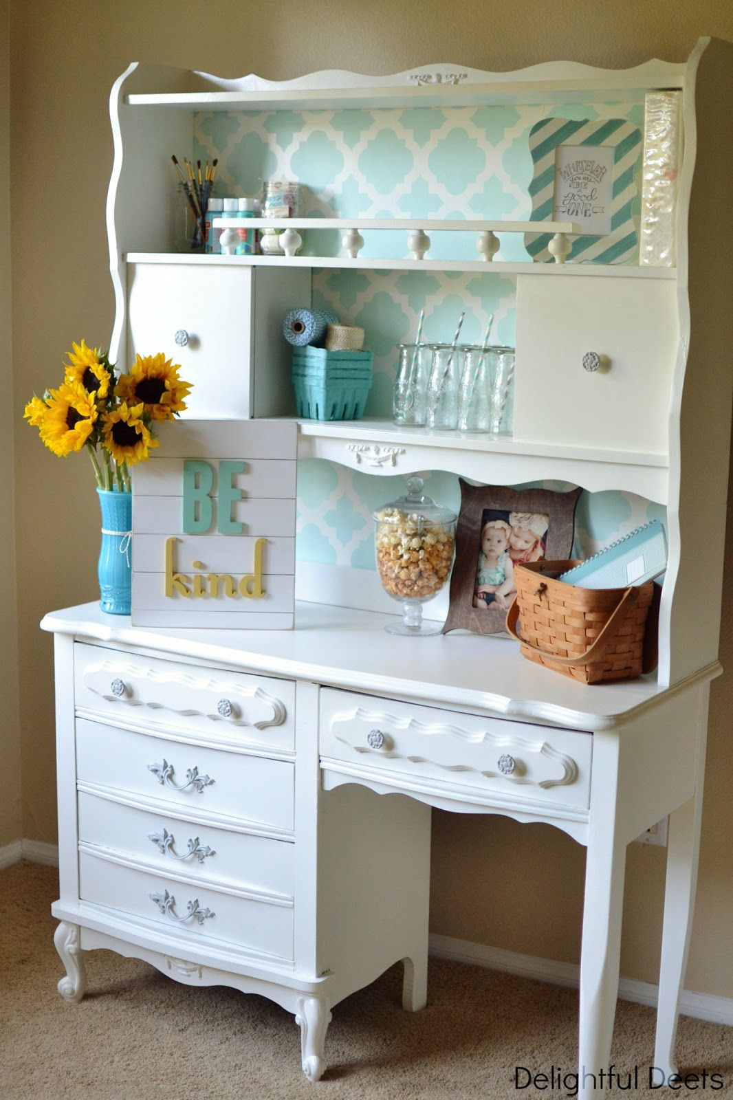 Delightful Deets: Vintage Desk U0026 Hutch Makeover {Giveaway From Cutting Edge  Stencils U0026 Evie