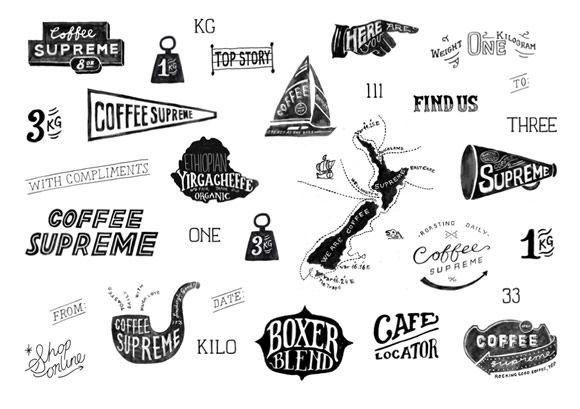 Coffee Supreme rebrand illustrations by Hardhat Design #HardhatDesign #CoffeeSupreme #illustration